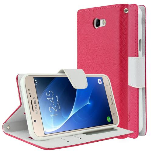 Samsung Galaxy J7 [2017]/ Galaxy J7 Perx Wallet Case, [Hot Pink/ White] Kickstand Feature Luxury Faux Saffiano Leather Front Flip Cover with Built-in Card Slots, Magnetic Flap with Travel Wallet Phone Stand