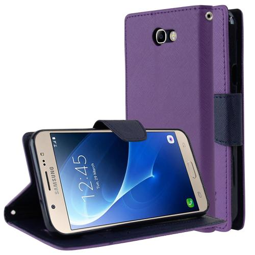 Samsung Galaxy J7 [2017]/ Galaxy J7 Perx Wallet Case, [Purple/ Navy] Kickstand Feature Luxury Faux Saffiano Leather Front Flip Cover with Built-in Card Slots, Magnetic Flap with Travel Wallet Phone Stand