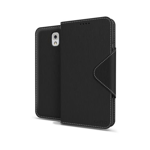 Black Faux Leather Diary Flip Case w/ ID Slots, Bill Fold, Magnetic Closure & Free Screen Protector for Samsung Galaxy Note 3