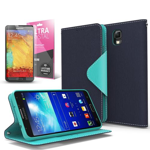Navy/ Mint Faux Leather Diary Flip Case w/ ID Slots, Bill Fold, Magnetic Closure & Free Screen Protector for Samsung Galaxy Note 3