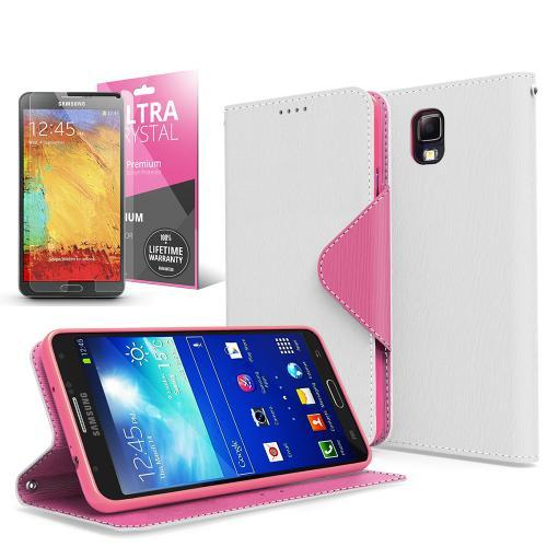 White/ Hot Pink Faux Leather Diary Flip Case w/ ID Slots, Bill Fold, Magnetic Closure & Free Screen Protector for Samsung Galaxy Note 3