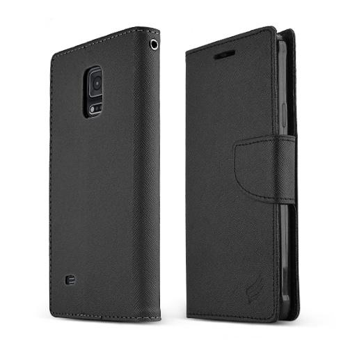 Samsung Galaxy Note 4 Case,  [Black Saffiano]  Kickstand Feature Luxury Faux Saffiano Leather Front Flip Cover with Built-in Card Slots, Magnetic Flap