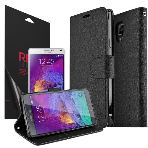 Galaxy Note 4 Wallet Case [Black] Featuring Faux Leather Flip Cover, ID Slots, Bill Fold, & Snap Close Magnet