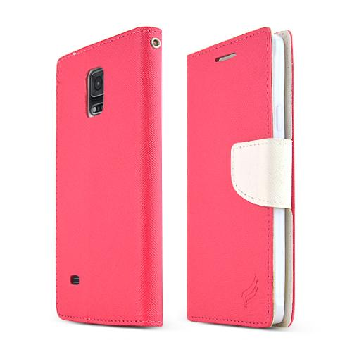 Samsung Galaxy Note 4 Case, [Hot Pink/ White]  Kickstand Feature Luxury Faux Saffiano Leather Front Flip Cover with Built-in Card Slots, Magnetic Flap