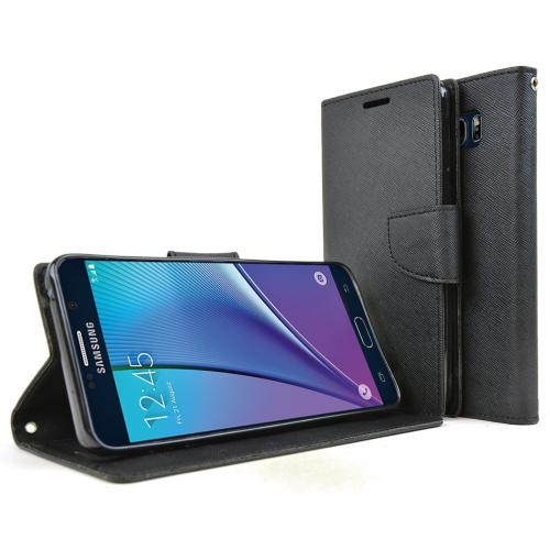 Samsung Galaxy Note 5 Case, [Black] Faux Leather Front Flip Cover Diary Wallet Case w/ Magnetic Flap