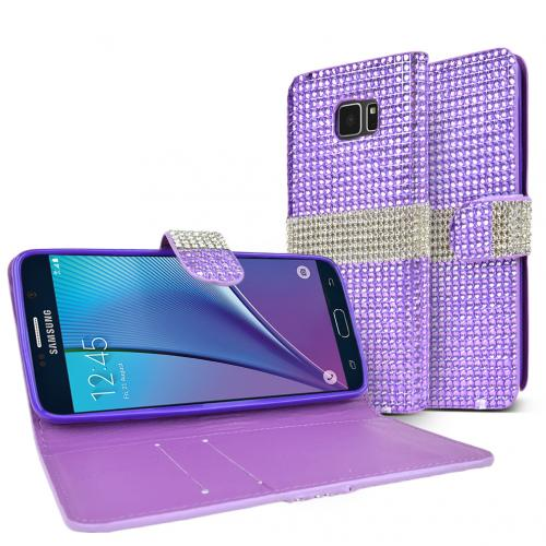 Samsung Galaxy Note 5, [Bling Lavender/ Silver]  Kickstand Feature Luxury Faux Saffiano Leather Front Flip Cover with Built-in Card Slots, Magnetic Flap