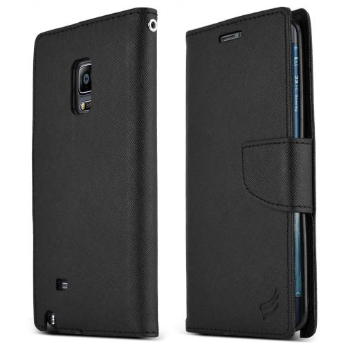 Galaxy Note Edge Wallet Case [Black] Featuring Faux Leather Flip Cover, ID Slots, Bill Fold, & Snap Close Magnet