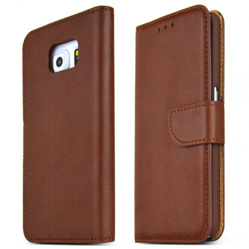 Samsung Galaxy S6 Case,  [Dark Brown]  Kickstand Feature Luxury Faux Saffiano Leather Front Flip Cover with Built-in Card Slots, Magnetic Flap