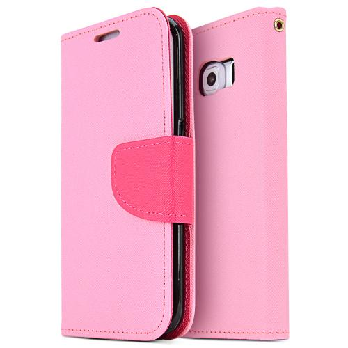 Samsung Galaxy S6 Edge Case,  [Pink]  Kickstand Feature Luxury Faux Saffiano Leather Front Flip Cover with Built-in Card Slots, Magnetic Flap