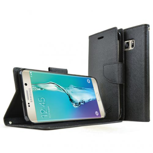 Samsung Galaxy S6 edge+ Case, [Black] Faux Leather Front Flip Cover Diary Wallet Case w/ Magnetic Flap