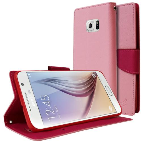 Samsung Galaxy S6 Edge Plus,  [Baby Pink/ Hot Pink]  Kickstand Feature Luxury Faux Saffiano Leather Front Flip Cover with Built-in Card Slots, Magnetic Flap