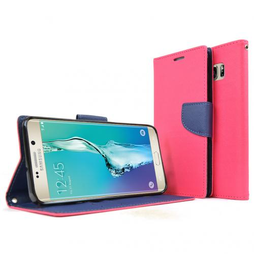 Samsung Galaxy S6 Edge Plus,  [Hot Pink]  Kickstand Feature Luxury Faux Saffiano Leather Front Flip Cover with Built-in Card Slots, Magnetic Flap