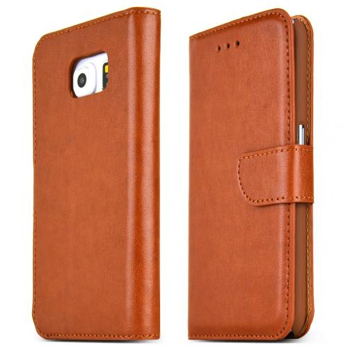 Samsung Galaxy S6 Case,  [Light Brown]  Kickstand Feature Luxury Faux Saffiano Leather Front Flip Cover with Built-in Card Slots, Magnetic Flap
