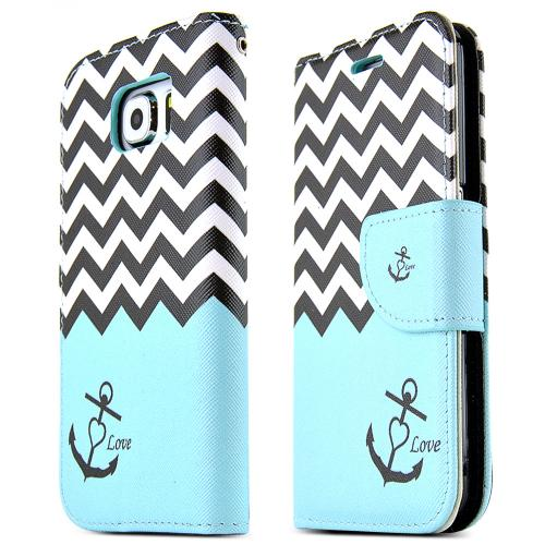 Samsung Galaxy S6 Case,  [Black/ White Chevron Stripes]  Kickstand Feature Luxury Faux Saffiano Leather Front Flip Cover with Built-in Card Slots, Magnetic Flap