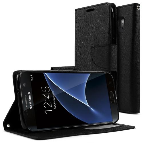 Samsung Galaxy S7 Case, REDshield [Black]  Kickstand Feature Luxury Faux Saffiano Leather Front Flip Cover with Built-in Card Slots, Magnetic Flap
