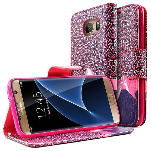 Samsung Galaxy S7 Edge Wallet Case, REDshield  [Hot Pink Leopard w/ Bow] Slim & Protective Flip Cover Diary Case w/ ID Slots, Wrist Strap, & Snap Close Magnet