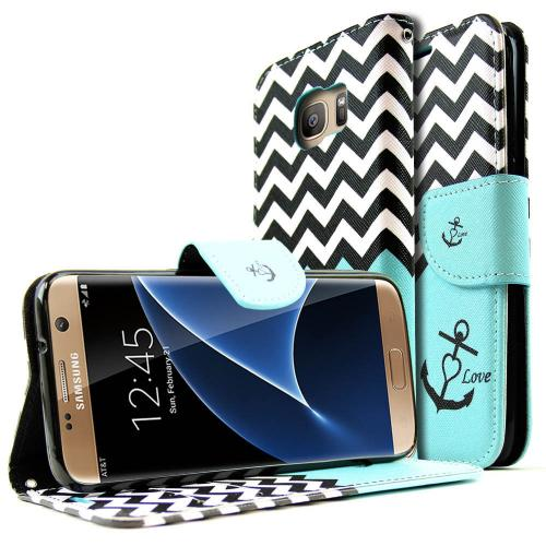 Samsung Galaxy S7 Edge Wallet Case, REDshield [Black / White Chevron Stripes] Slim & Protective Flip Cover Diary Case w/ ID Slots, Wrist Strap, & Snap Close Magnet