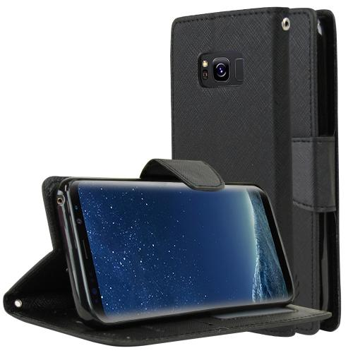 Samsung Galaxy S8 Wallet Case, [Black] Kickstand Feature Luxury Faux Saffiano Leather Front Flip Cover with Built-in Card Slots, Magnetic Flap with Travel Wallet Phone Stand