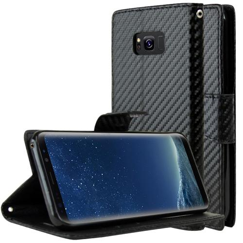 Samsung Galaxy S8 Wallet Case, [Carbon Fiber Design] Kickstand Feature Luxury Faux Saffiano Leather Front Flip Cover with Built-in Card Slots, Magnetic Flap