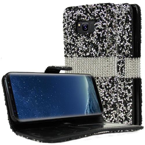 Samsung Galaxy S8 Plus Wallet Case, REDshield [Black Shiny Sparkling Gem w/ Silver] Kickstand Feature Luxury Faux Saffiano Leather Front Flip Cover with Built-in Card Slots, Magnetic Flap