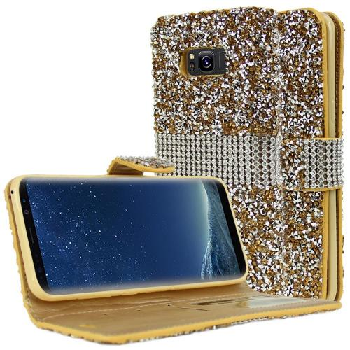 Samsung Galaxy S8 Plus Wallet Case, REDshield [Gold Shiny Sparkling Gem w/ Silver] Kickstand Feature Luxury Faux Saffiano Leather Front Flip Cover with Built-in Card Slots, Magnetic Flap