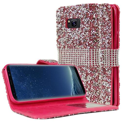 Samsung Galaxy S8 Plus Wallet Case, REDshield [Pink Shiny Sparkling Gem w/ Silver] Kickstand Feature Luxury Faux Saffiano Leather Front Flip Cover with Built-in Card Slots, Magnetic Flap