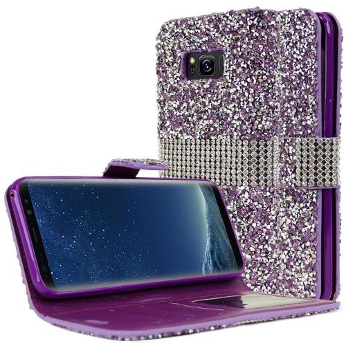 Samsung Galaxy S8 Plus Wallet Case, REDshield [Purple Shiny Sparkling Gem w/ Silver] Kickstand Feature Luxury Faux Saffiano Leather Front Flip Cover with Built-in Card Slots, Magnetic Flap