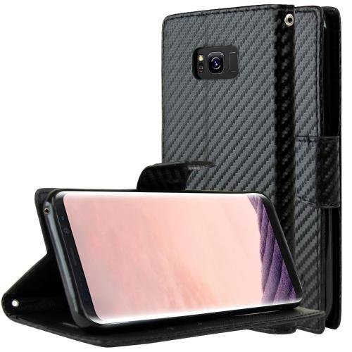 Samsung Galaxy S8 Plus Wallet Case, [Carbon Fiber Design] Kickstand Feature Luxury Faux Saffiano Leather Front Flip Cover with Built-in Card Slots, Magnetic Flap with Travel Wallet Phone Stand