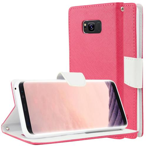 Samsung Galaxy S8 Plus Wallet Case, [Hot Pink/ White] Kickstand Feature Luxury Faux Saffiano Leather Front Flip Cover with Built-in Card Slots, Magnetic Flap