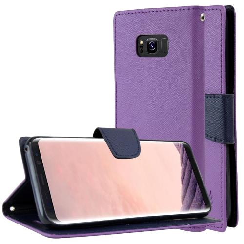 Samsung Galaxy S8 Plus Wallet Case, [Purple/ Navy] Kickstand Feature Luxury Faux Saffiano Leather Front Flip Cover with Built-in Card Slots, Magnetic Flap with Travel Wallet Phone Stand