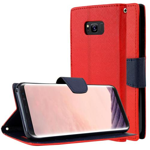 Samsung Galaxy S8 Plus Wallet Case, [Red/ Navy] Kickstand Feature Luxury Faux Saffiano Leather Front Flip Cover with Built-in Card Slots, Magnetic Flap