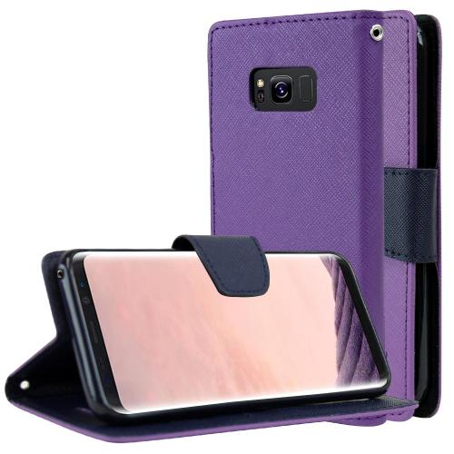 Samsung Galaxy S8 Wallet Case, [Purple/ Navy] Kickstand Feature Luxury Faux Saffiano Leather Front Flip Cover with Built-in Card Slots, Magnetic Flap