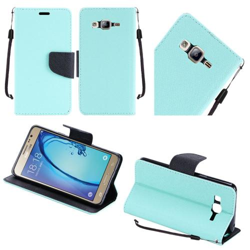 Samsung Galaxy On5 Case, Luxury Faux Leather Saffiano Texture Front Flip Cover Diary Wallet Case w/ Magnetic Flap [Mint/ Black]