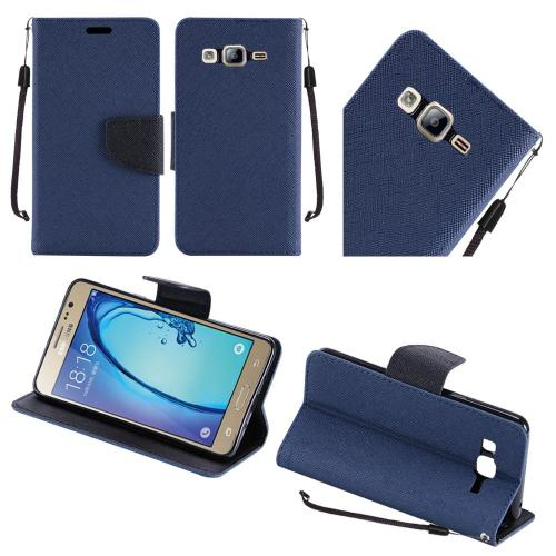 Samsung Galaxy On5 Case, Luxury Faux Leather Saffiano Texture Front Flip Cover Diary Wallet Case w/ Magnetic Flap [Navy/ Black]
