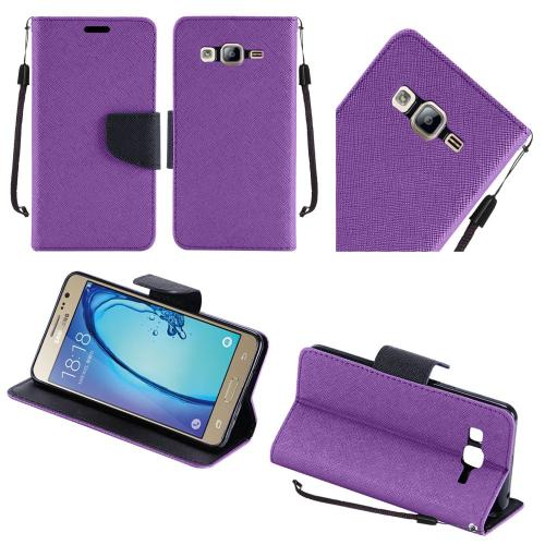 Samsung Galaxy On5 Case, Luxury Faux Leather Saffiano Texture Front Flip Cover Diary Wallet Case w/ Magnetic Flap [Purple/ Black]