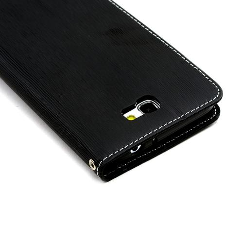 Black Faux Leather Diary Flip Case w/ ID Slots, Bill Fold, & Magnetic Closure for Samsung Galaxy Note 2