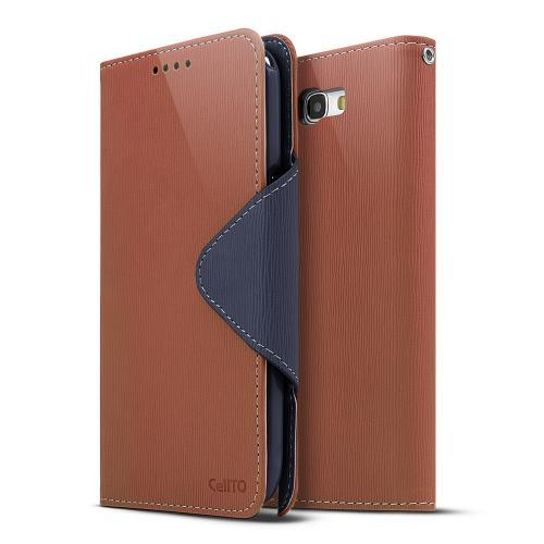 Brown/ Navy Blue Faux Leather Diary Flip Case w/ ID Slots & Bill Fold for Samsung Galaxy Note 2