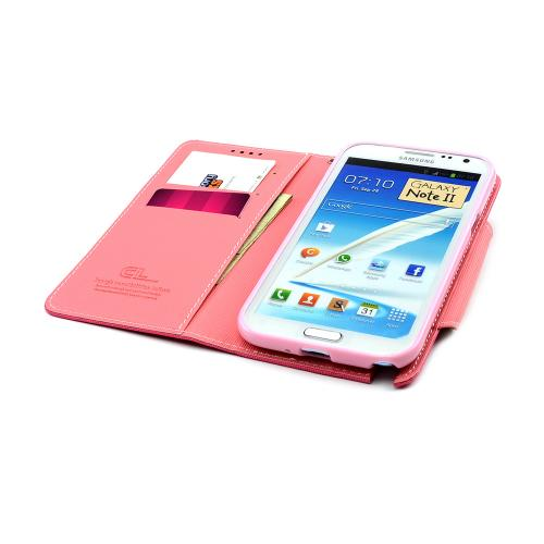Hot Pink/ Baby Pink Faux Leather Diary Flip Case w/ ID Slots & Bill Fold for Samsung Galaxy Note 2
