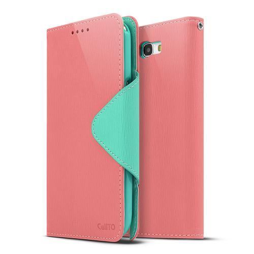 Light Melon/ Mint Faux Leather Diary Flip Case w/ ID Slots & Bill Fold for Samsung Galaxy Note 2