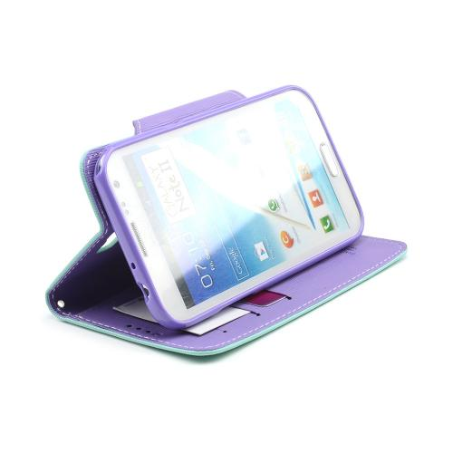 Mint/ Lavender Exclusive Faux Leather Diary Flip Case w/ ID Slots & Bill Fold for Samsung Galaxy Note 2