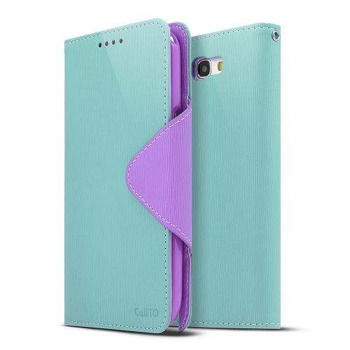 Mint/ Lavender Exclusive CellLine Faux Leather Diary Flip Case w/ ID Slots & Bill Fold for Samsung Galaxy Note 2