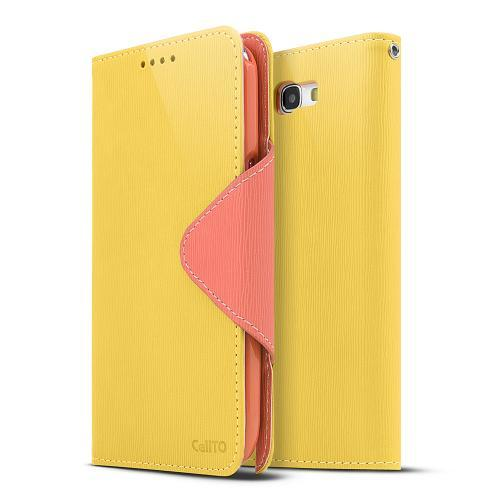 Yellow/ Orange Faux Leather Diary Flip Case w/ ID Slots & Bill Fold for Samsung Galaxy Note 2