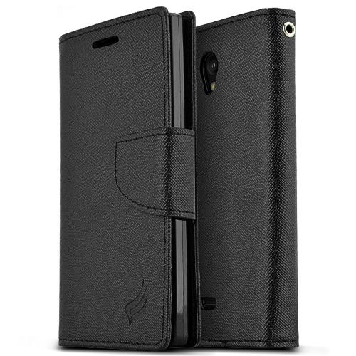Manufacturers  Sharp Aquos Crystal Wallet Case [Black] Slim & Protective Flip Cover Diary Case w/ ID Slots, Magnetic Flap Closure - Keep Everything in One Place! [Perfect Fitting Sharp Aquos Crystal Case] Hard Cases