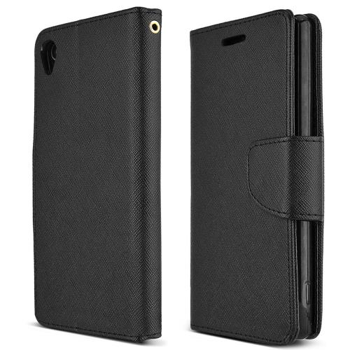 Sony Xperia Z3 Wallet Case [black] Slim & Protective Flip Cover Diary Case W/ Id Slots & Magnetic Flap Closure - Keep Everything In One Place!