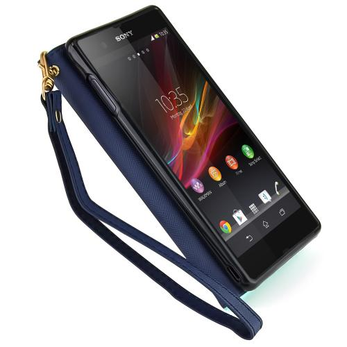 Sony Xperia Z3 Wallet Case [mint / Navy ] Slim & Protective Flip Cover Diary Case W/ Id Slots & Magnetic Flap Closure