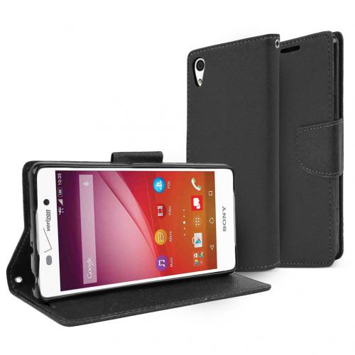 Sony Xperia Z4V Wallet Case [Black] Featuring Faux Leather Flip Cover, ID Slots, Bill Fold & Snap Close Magnet