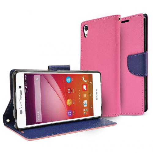 Sony Xperia Z4V Wallet Case [Hot Pink/ Navy] Featuring Faux Leather Flip Cover, ID Slots, Bill Fold & Snap Close Magnet