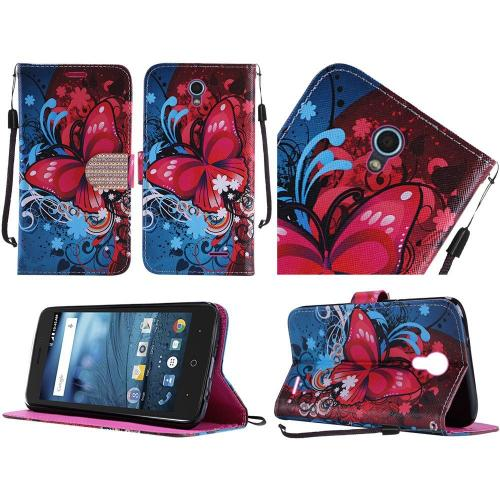 ZTE Avid Trio Case, Luxury Faux Leather Saffiano Texture Front Flip Cover Diary Wallet Case w/ Magnetic Flap [Butterfly Bliss]