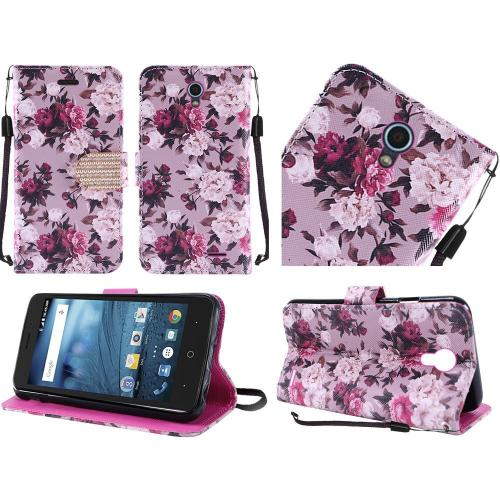 ZTE Avid Trio Case, Luxury Faux Leather Saffiano Texture Front Flip Cover Diary Wallet Case w/ Magnetic Flap [Pink & White Roses]