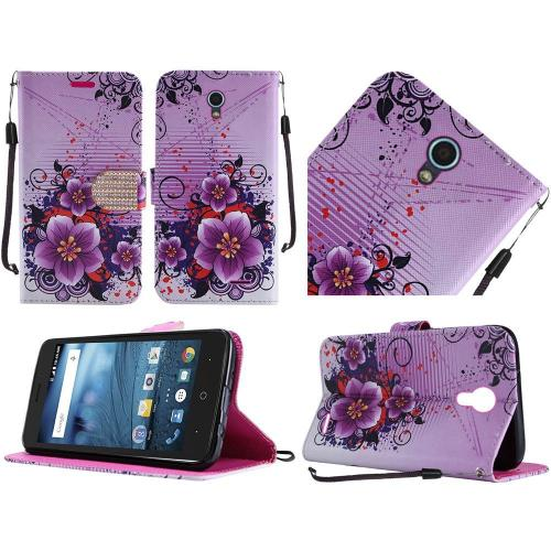 ZTE Avid Trio Case, Luxury Faux Leather Saffiano Texture Front Flip Cover Diary Wallet Case w/ Magnetic Flap [Purple Fantasy Flowers]